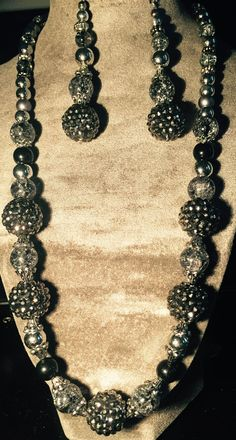 Black and Silver Necklace and Earring Set via Debbie's Shop. Click on the image to see more!
