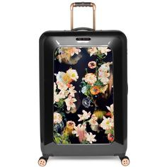 Ted Baker London 'Large Opulent Blooms' Hard Shell Suitcase (32,760 INR) ❤ liked on Polyvore featuring bags, luggage and black