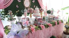 Butterfly dessert table from a Beautiful Butterfly Birthday Party on Kara's Party Ideas | KarasPartyIdeas.com (7)