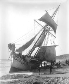 The St Anne, near Porthleven, 1931, a French Schooner travelling from Cardiff to Vannes