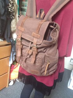 """Vintage #Canvasbackpack Hiking Outdoor - 17"""" padded Laptop compartment"""