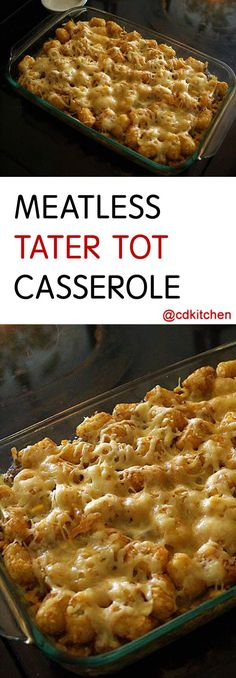 Tater tot casserole is an iconic dish in the midwest. This version nixes the ground beef that's in the original version and adds a crunchy cornflake topping. You can easily change things up by using other flavored cream soup (like… Continue Reading → Tator Tot Casserole Recipe, Tater Tot Recipes, Easy Casserole Recipes, Tater Tot Breakfast Casserole, Hamburger Casserole, Potato Recipes, Casserole Dishes, Potato Dishes, Food Dishes