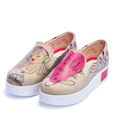 Another great find on #zulily! Beige & Pink 'Let The Music Play' Platform Slip-On Sneaker #zulilyfinds