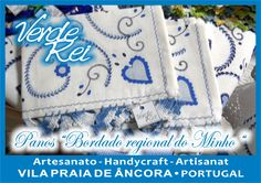 """Kitchen cloth with """"Typical North Portugal embroidey"""" stamped (100% cotton), with crochet beak (100% cotton thread)."""