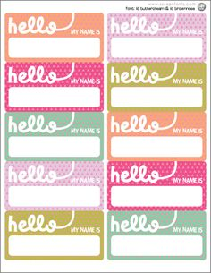 FREE name tag printable