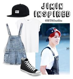 """""""Jimin Inspired Outfit"""" by btsoutfits ❤ liked on Polyvore featuring Brixton and Converse"""