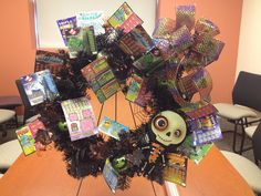 our department made this for a raffle! School Auction Baskets, Raffle Baskets, Money Trees, Lottery Tickets, School Fundraisers, Halloween Party, Halloween Ideas, Fundraising, Scary