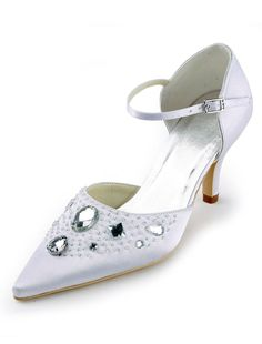 Elegant White Satin Rhinestone Pointed Toe Wedding Shoes. See More Bridal Shoes at http://www.ourgreatshop.com/Bridal-Shoes-C919.aspx