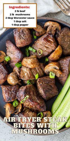 Air Fryer Oven Recipes, Air Frier Recipes, Air Fryer Dinner Recipes, Air Fryer Cooking Times, Cooks Air Fryer, Air Fry Steak, Beef Recipes, Cooking Recipes, Air Fried Food