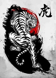 "Beautiful ""Japanese Tiger"" metal poster created by Cornel Vlad. Lady Bug Tattoo, Rn Tattoo, Tattoo Dotwork, Tattoo Und Piercing, Clown Tattoo, Henna Tattoo Designs, Tiger Tattoo Design, Tattoo Sleeve Designs, Sleeve Tattoos"