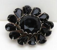 Vintage Jet Black Glass Broach Pin 1950s 1960s by mycrochetgarden, $24.00