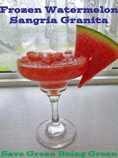 Easy to Make Frozen Watermelon Sangria Granita using SkinnyGirl and pureed watermelon! #recipe #happyhour Great summer drink recipe!