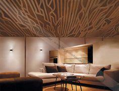 E.P. Projet 13, Œuvre numérique. Maquette 2D d'une modulation linéaire pour un plafond bois. 2009. Reproduction de l'oeuvre à vendre. 19.5x15po.  ©Stéphanie Homier.
