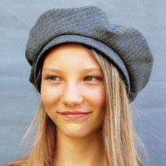 Grey beret  French beret  womens fashion cap  grey cap  grey wool cap designer cap womens winter cap ZUTmarie beret in vintage French fabric