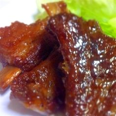 Pressure Cooked Meltingly Tender Simmered Pork Belly (Buta no Kakuni) Recipe by cookpad. Quick Recipes, Asian Recipes, Cooking Recipes, Filipino Recipes, Chinese Ribs, Chinese Style, Chinese Food, Pork Loin Back Ribs, Baked Teriyaki Chicken