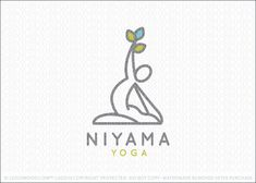 Logo for sale: Pilates and yoga natural wellness pose logo design, featuring a stylized figure in a yoga/pilates pose. The figure is designed to flow seamlessly into a pyramid formation with the figures holding a group of leaves to represent natural wellness. Excellent logo for a wide range of natural health and fitness companies.