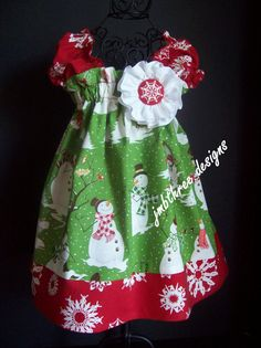 New Christmas Snow Dress in your choice of size 0-3m, 3-9m, 9-12m, 12-18m, 18-24m, 2t,  or 3t