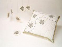 Snowflake Pillow, Christmas Pillow, Winter Pillow cover Embroidered with Snowfl. : Snowflake Pillow, Christmas Pillow, Winter Pillow cover Embroidered with Snowflake Ornaments HET Snowflake Pillow, Snowflake Ornaments, Snowflakes, Christmas Pillow, Christmas Gifts, Christmas Cover, Holiday, Unique Gifts, Handmade Gifts