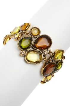 14K Antique Gold and Crystal Bracelet. Awesome fall accessories! Love these colors