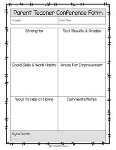 Love this open ended Parent Teacher Conference form.  Lots of room to fill in students' strengths, test results/grades, social skills, areas for improvement, and ways for parents to help at home.  This would make it easy to personalize the information for each parent teacher conference.  More ideas & tips on the blog post!