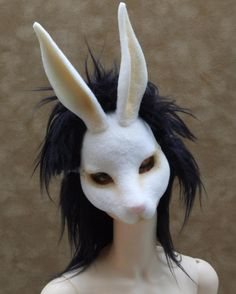 man with rabbit mask poster Mascaras Halloween, Creepy Animals, Mask Drawing, Bunny Mask, White Rabbits, Animal Masks, Masks Art, Creepy Art, Mask Design