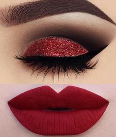 - # - Make up a Gutes Valentinsgrußmake-up ! – # – Make up augen – Good valentine makeup ! – # – Make up eyes – - Eye Makeup Blue, Makeup Eye Looks, Glitter Makeup, Red Glitter, Makeup Goals, Makeup Inspo, Makeup Tips, Makeup Ideas, Beauty Makeup