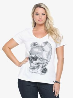 Sporting cat-eye shades and liberty rolls, this rockabilly skull adds some hip edge to the front of this white V-neck tee.