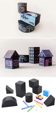"""""""Tsumiki"""" chalk building blocks by Japanese company Nihon Rikagaku Industry - use wooden blocks and paint with blackboard paint! Diy For Kids, Crafts For Kids, Diy Pour Enfants, Blackboard Paint, Chalk Paint, Block Area, Kids Wood, Crafty Kids, Wooden Blocks"""