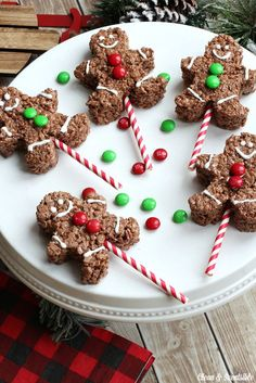 These Christmas Rice Krispie treats are a cute, quick and easy way to add a little fun to your Christmas party, class treats, or Christmas movie night!