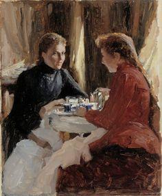 Joseph Abhar - The Athenaeum - Elevenses (Albert Edelfelt - ) Vincent Van Gogh, Cafe Art, Thing 1, Tea Art, Art Themes, Artist At Work, Female Art, Art History, Art Drawings