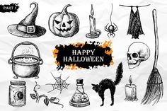 Halloween. Hand Drawn Vintage Set by Epine on Creative Market  Halloween Clip Art