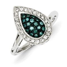 1/2 Carat Blue White Diamond Teardrop Ring In Sterling Silver Available Exclusively at Gemologica.com