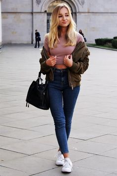 Chic Outfit from dalenadaily with Shoptiques Jackets, Missguided Tops, Chanel Vintage Shoulder Bags, Paige Jeans, Converse Sneakers