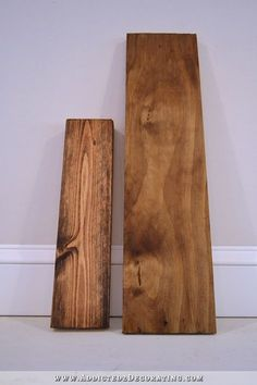 Both are pine. The left is just plain stain (ew!) and the other is a multi-step process that really reduced the grain and evened out the tone (and no, wood conditioner didn't give the nice effect either).