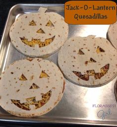 Jack-O-Lantern Quesadillas - Cute idea for cheese Quesadillas, PBJ Quesadillas, and for pie top crust.