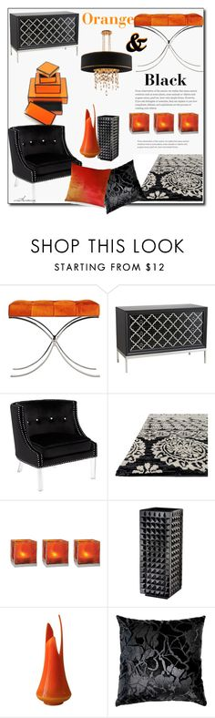 """""""Orange & Black"""" by arethaman ❤ liked on Polyvore featuring interior, interiors, interior design, home, home decor, interior decorating, Arteriors, Universal Lighting and Decor, Cultural Intrigue and Waterford"""