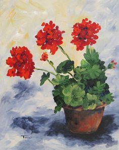 Geranium Canvas Prints | Geraniums Painting by Torrie Smiley - Porch Geraniums Fine Art Prints ...