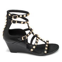 933dc2596d6 Venus Women s Studded Gladiator Wedge (125 BRL) ❤ liked on Polyvore  featuring shoes
