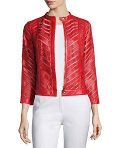 B36W0 Escada Zip-Front Laser-Cut Leather Jacket, Cherry