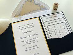 Nautical Navy and yellow Wedding Invitation. Custom Martha's Vineyard map envelope liner. Invitation enclosed in navy pocket folder.  www.hobartandhaven.com