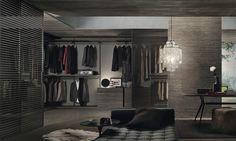 Stripe Rimadesio - cabina armadio www.spaziomateriae.com struttura alluminio brown e vetro trasparente grigio
