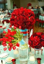 red and turquoise wedding - Google Search