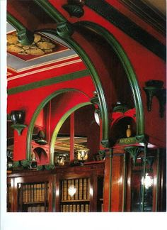 The red and green library in Sir John Soane Museum, London.