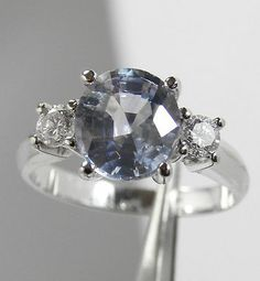 ESTATE 3.44ct NATURAL NO HEAT FINE █B U R M A█ SAPPHIRE & DIAMOND RING 18K GOLD█