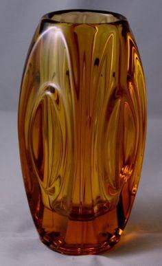 Sklo Union Deep Yellow Lens Glass Vase
