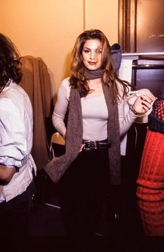 That's just Cindy, casually looking perfect backstage at Chanel in 1993. NBD.