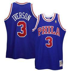 #Fanatics.com - #Mitchell & Ness Mitchell & Ness Philadelphia 76ers #3 Allen Iverson '96-'97 Hardwood Classics 50 Year Anniversary Throwback Premium Jersey - AdoreWe.com