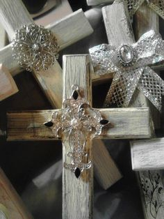 Shabby-Chic Wooden Crosses on Etsy, $10.00