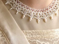 Bridal necklace - lace pearl bead weaving