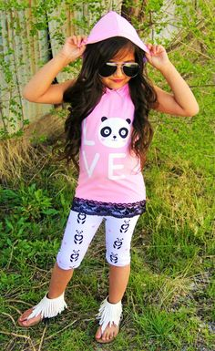 "Panda ""LOVE"" Hoodie Tank Top Set #boutique-outfits #clearance #daily-deal #daily-deals #new #newborn-clothing #perfect-sets #spring-line"